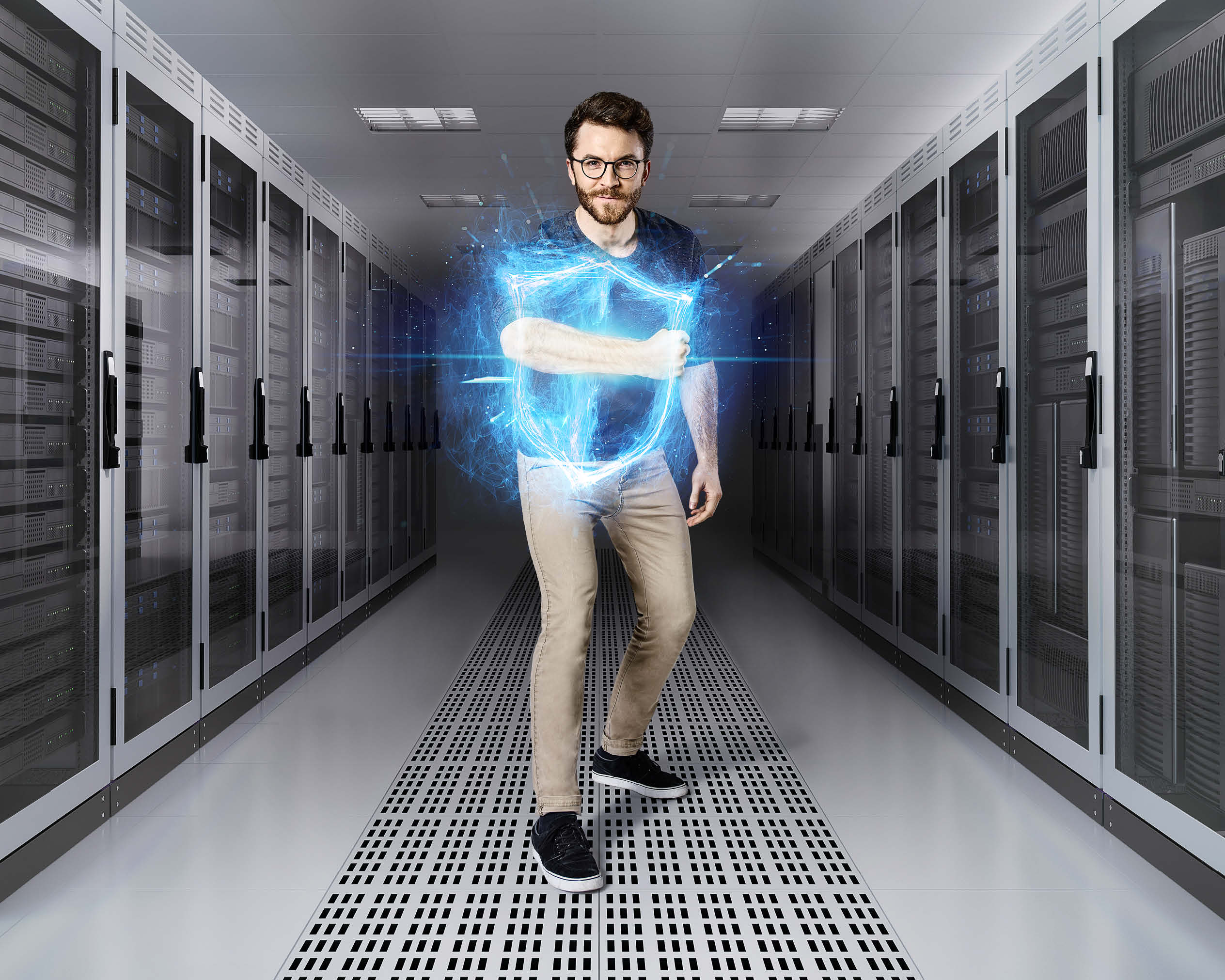 itsa 365: Man in data center with digital protective shield