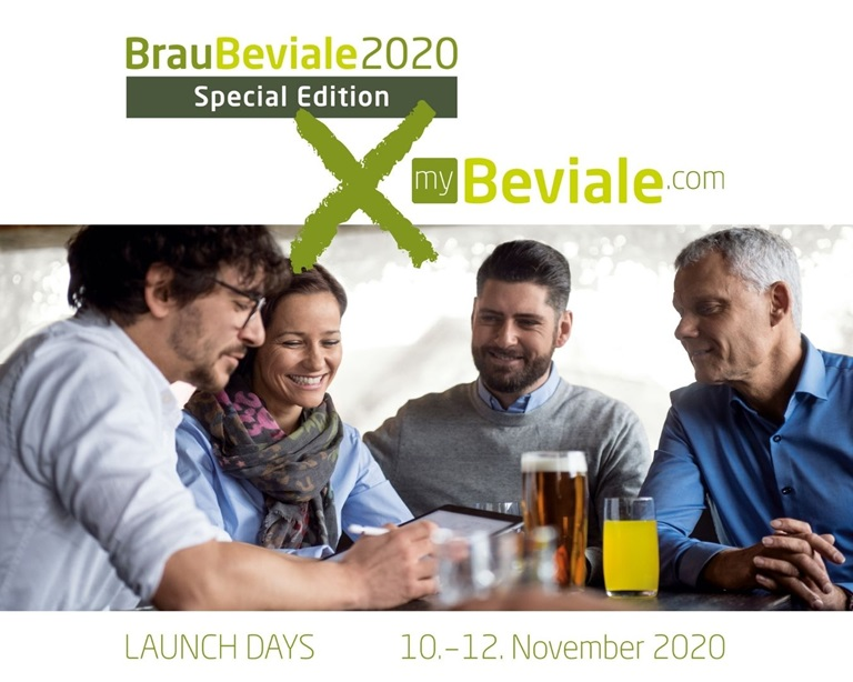 Four people with drinks in conversation and reference to BrauBeviale Special Edition and myBeviale