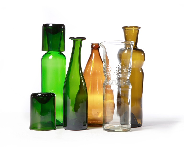 different glasses and glass bottles