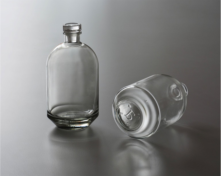 2 glass bottles