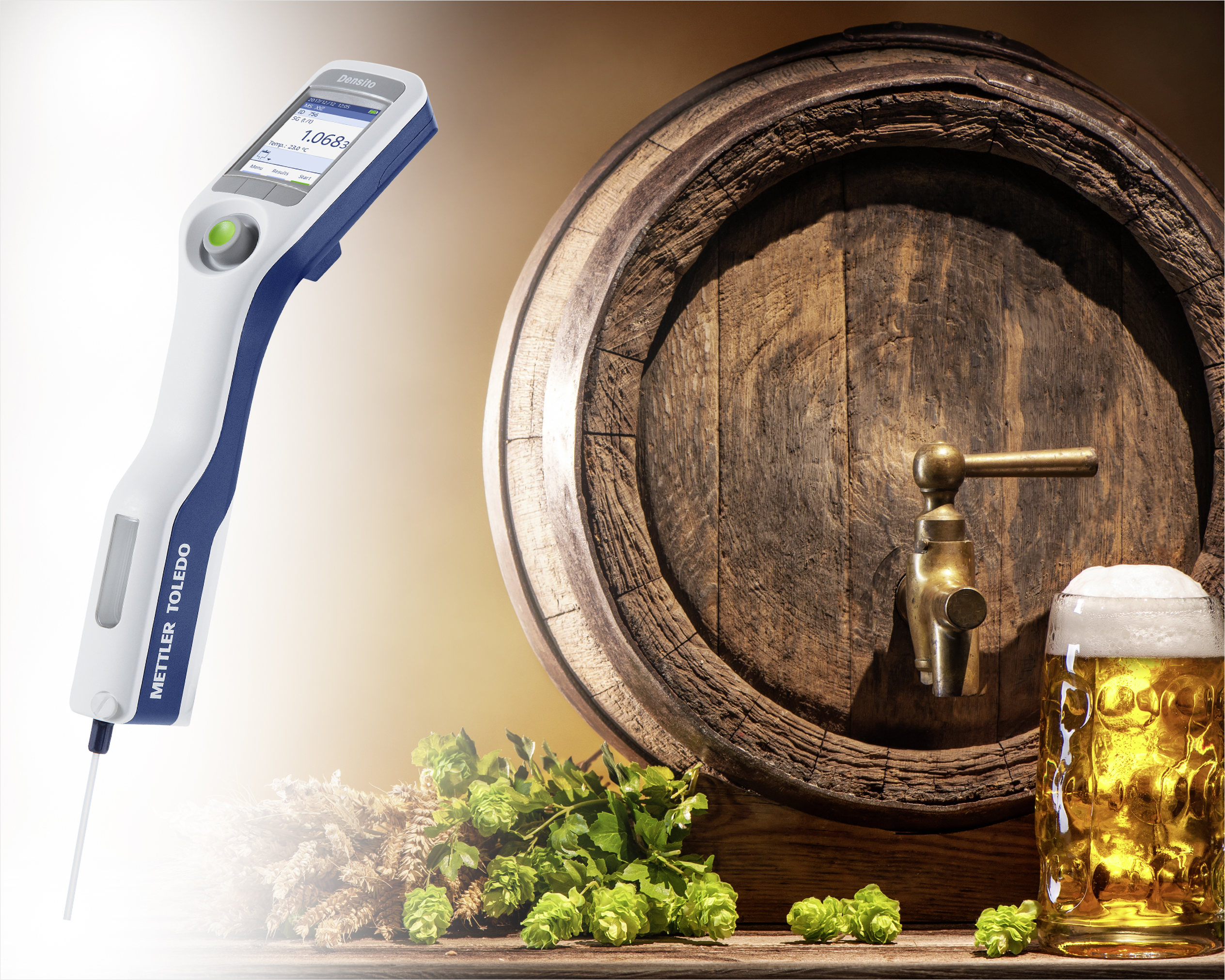 Portable measuring device (Densito) with hop blossoms, barrel and a glass of beer