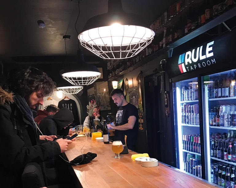 View of the bar in the Rule Taproom