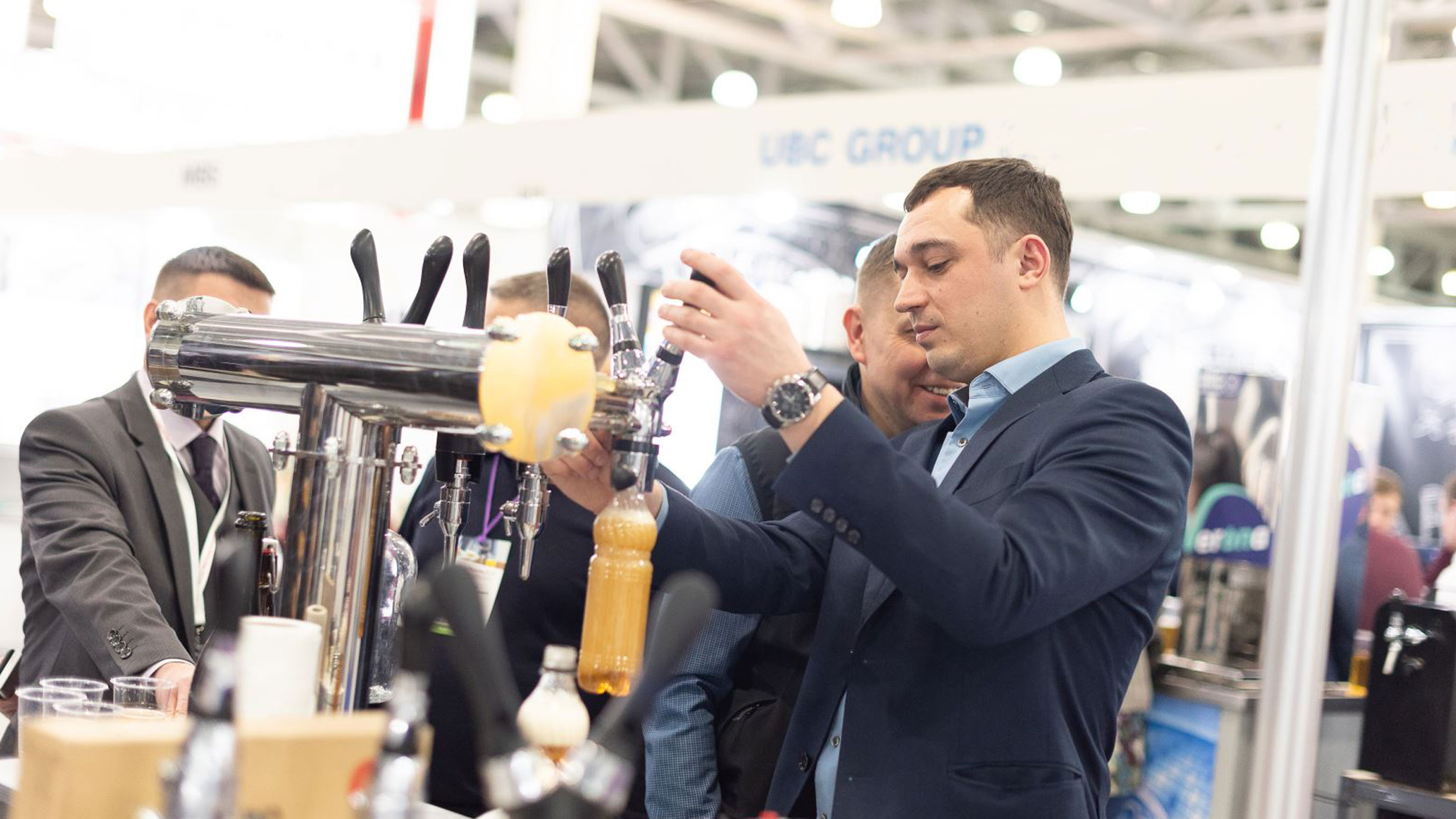Demonstration of a beverage filling line at Beviale Moscow