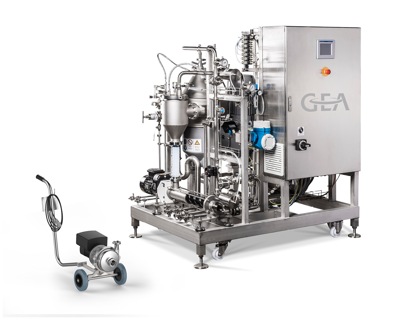 """Product picture of GEA """"plug& win"""" centrifuge skid for craft brewers with GEA Hilge HYGIA"""