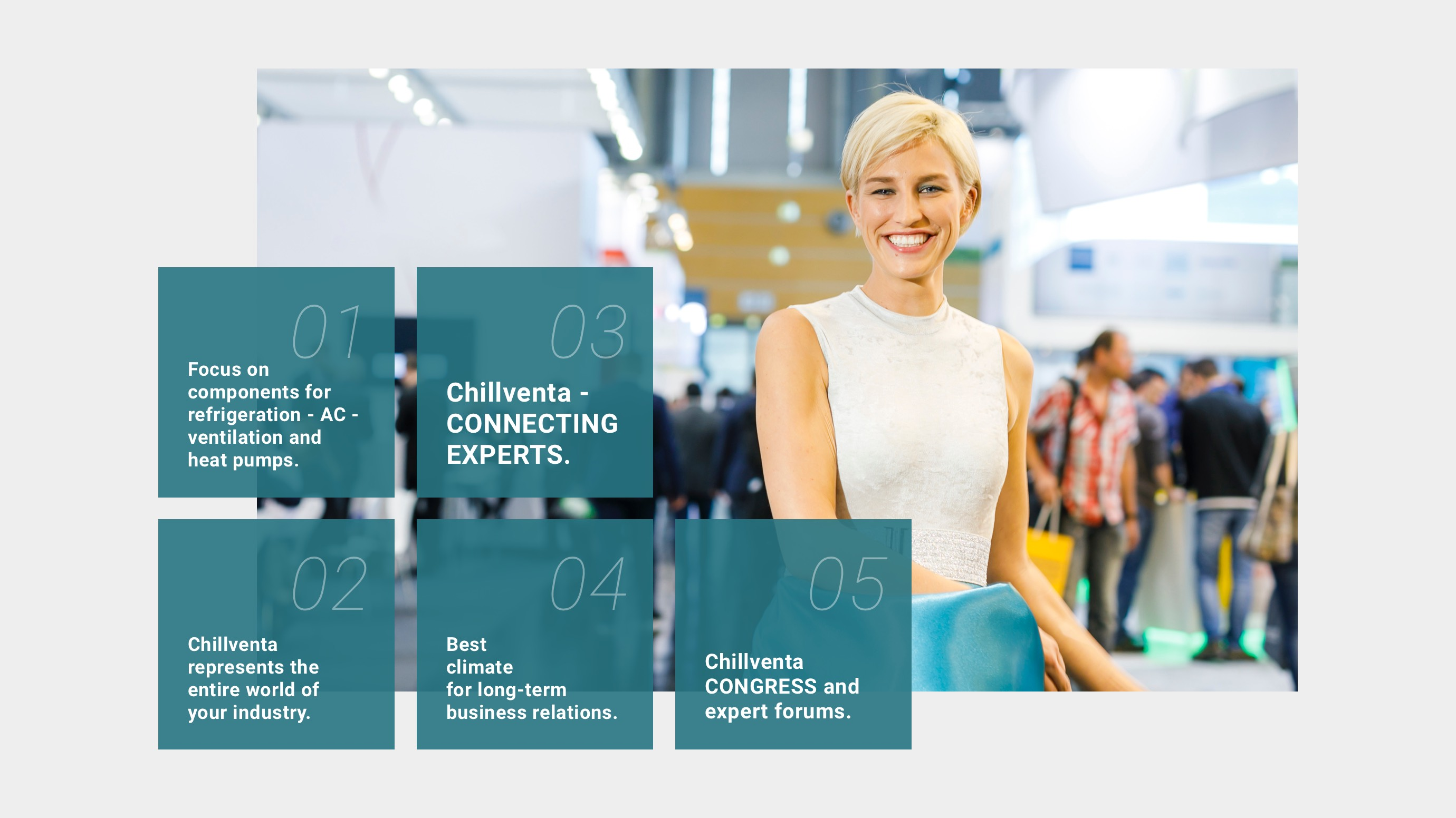 Infographic on five reasons to visit Chillventa: 1. Focus on components for refrigeration – AC - ventilation and heat pumps. 2. Chillventa represents the entire world of your industry. 3. Chillventa – CONNECTING EXPERTS. 4. Chillventa CONGRESS and expert forums.