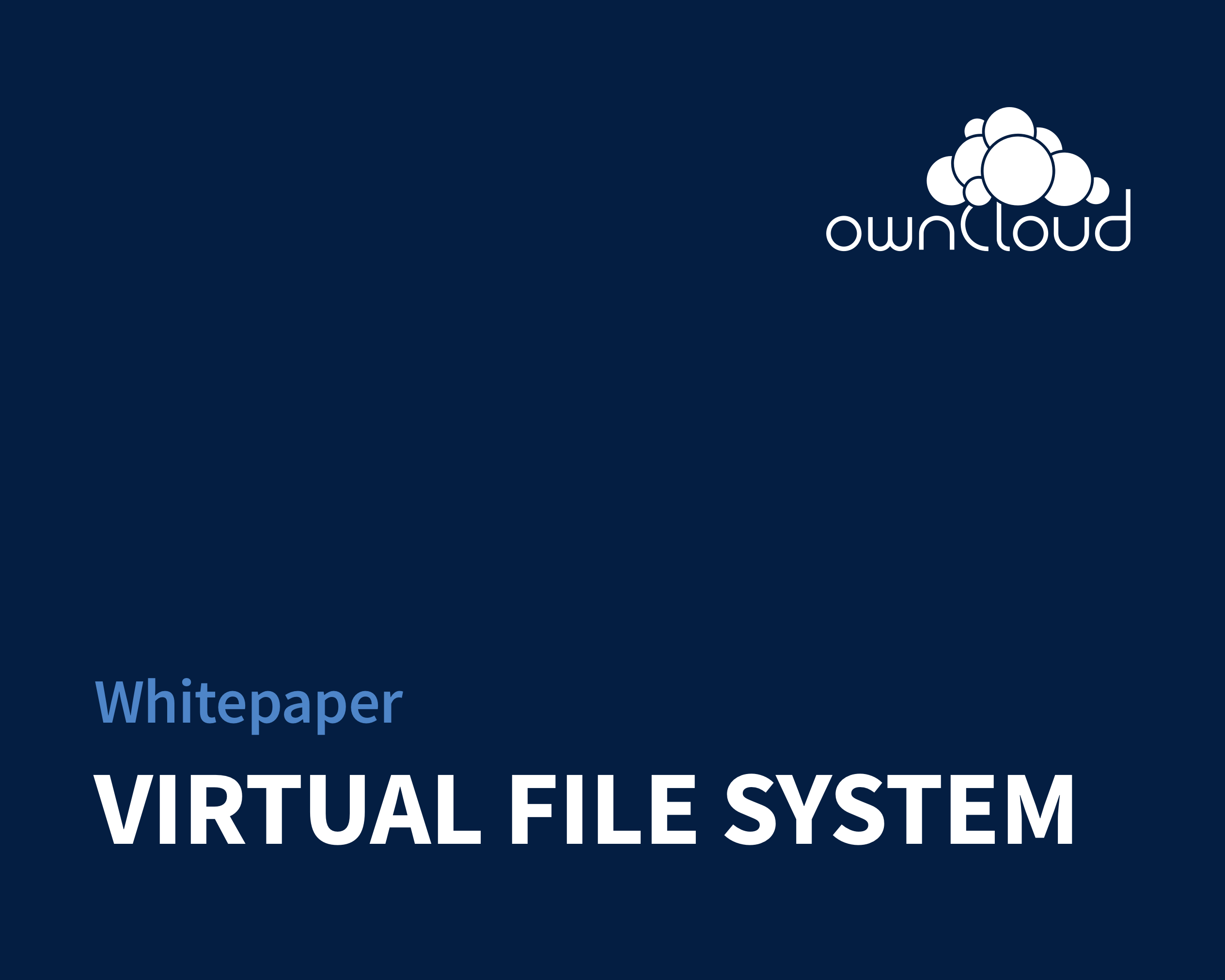 """Dark blue background with """"Whitepaper VIRTUAL FILE SYSTEM"""" in the lower left corner and ownCloud logo in the upper right corner"""