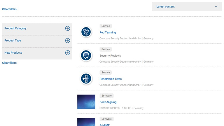it-sa 365 screenshot products and solutions filter chronological