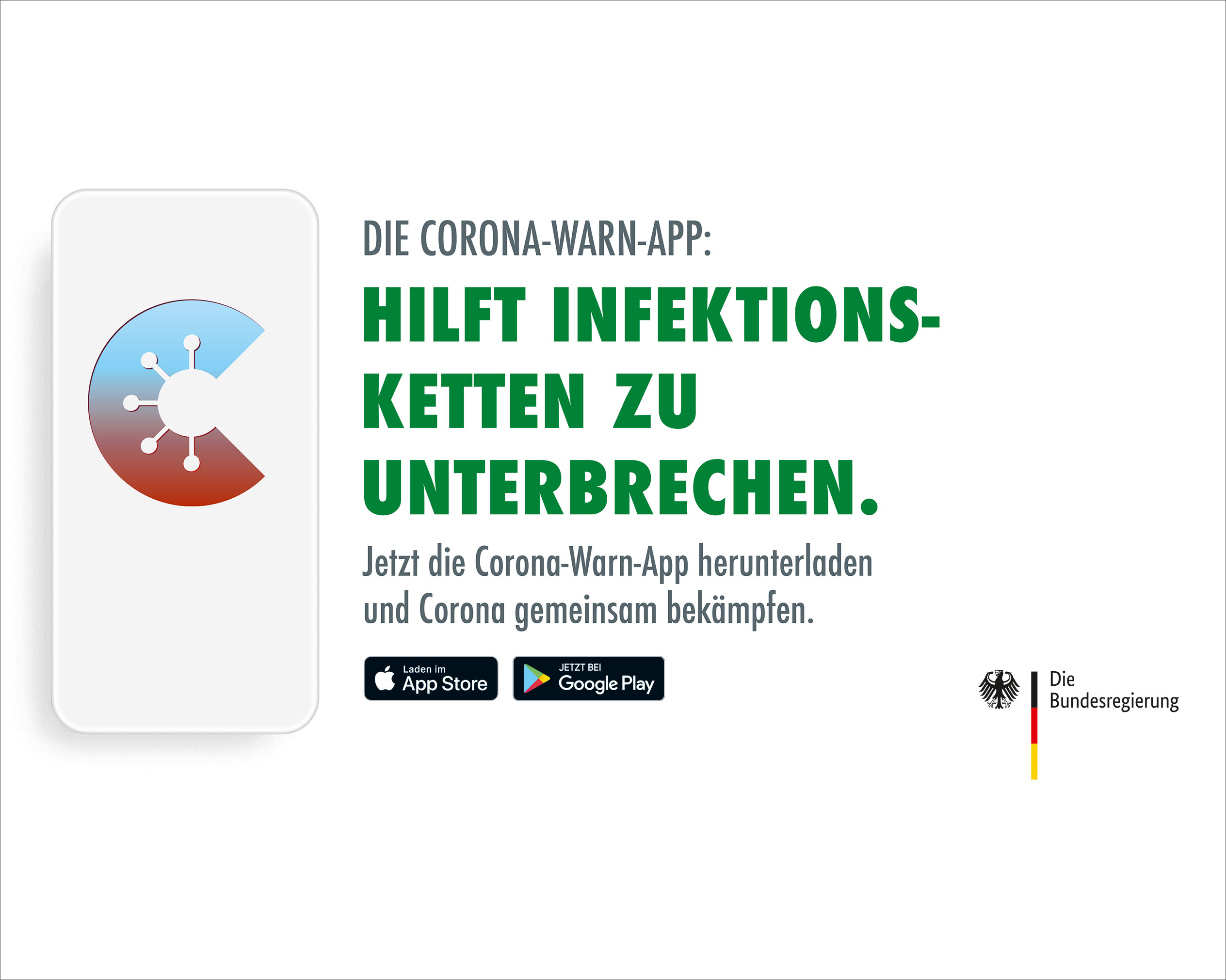 "Advertisement of the Federal Government of Germany to download the Corona-Warn-App with indicated Smartphone and the lettering ""Die Corona-Warn-App: Hilft Infektionsketten zu unterbrechen"" in green on the right side."