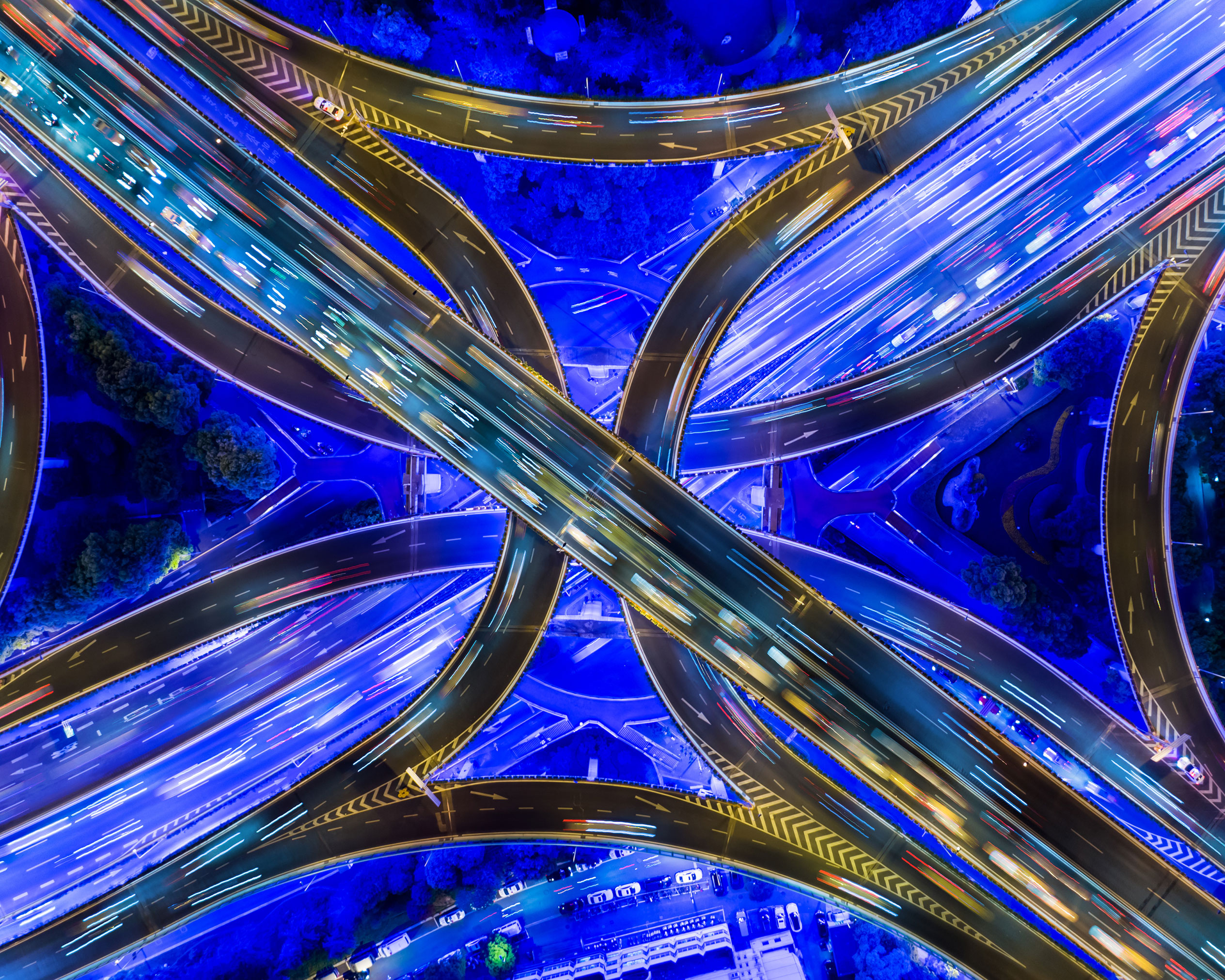 Traffic flows - aerial view of a freeway network