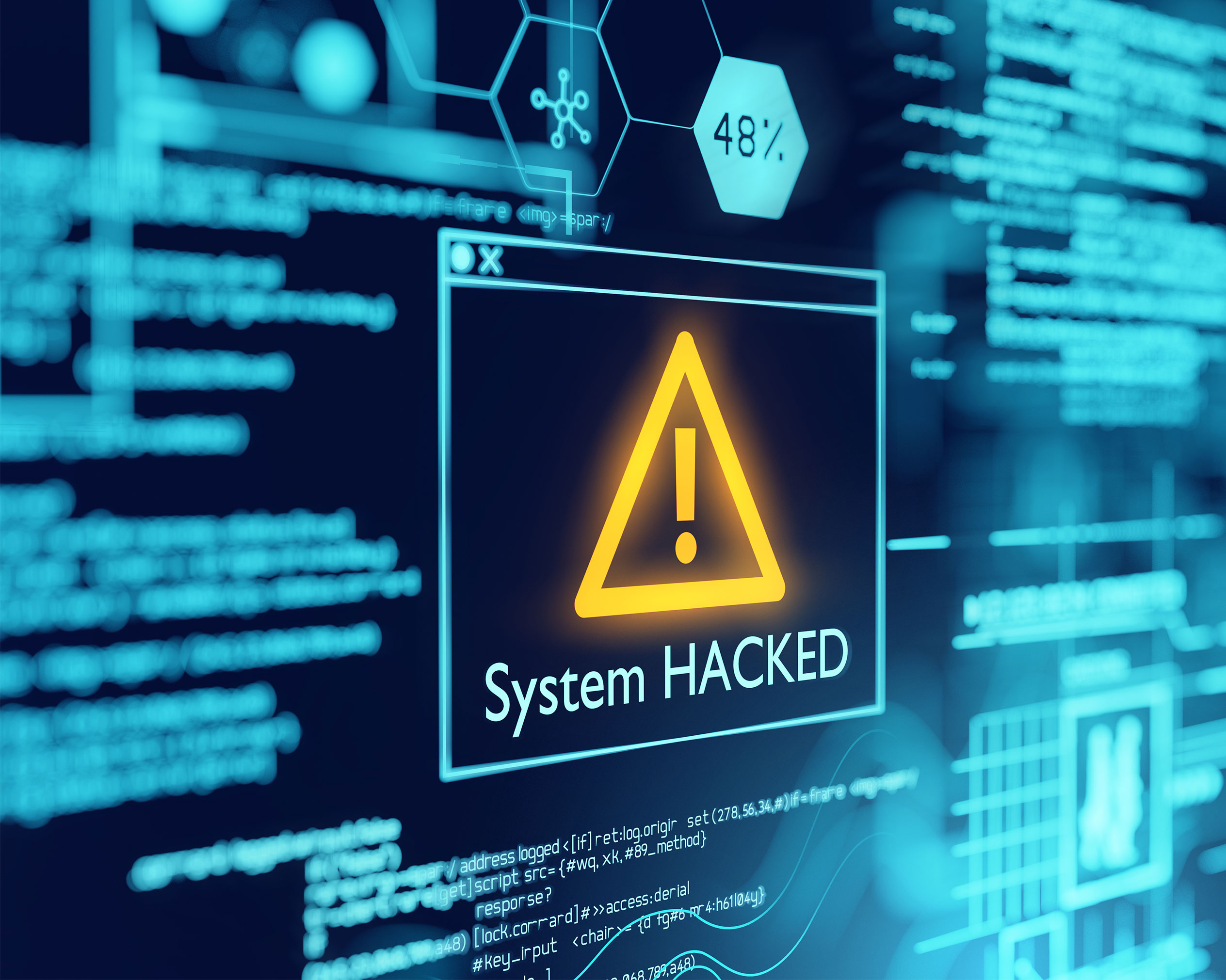 """A yellow warning symbol (triangle with exclamation mark) and the words """"System HACKED"""" on a dark blue screen with light blue lettering."""