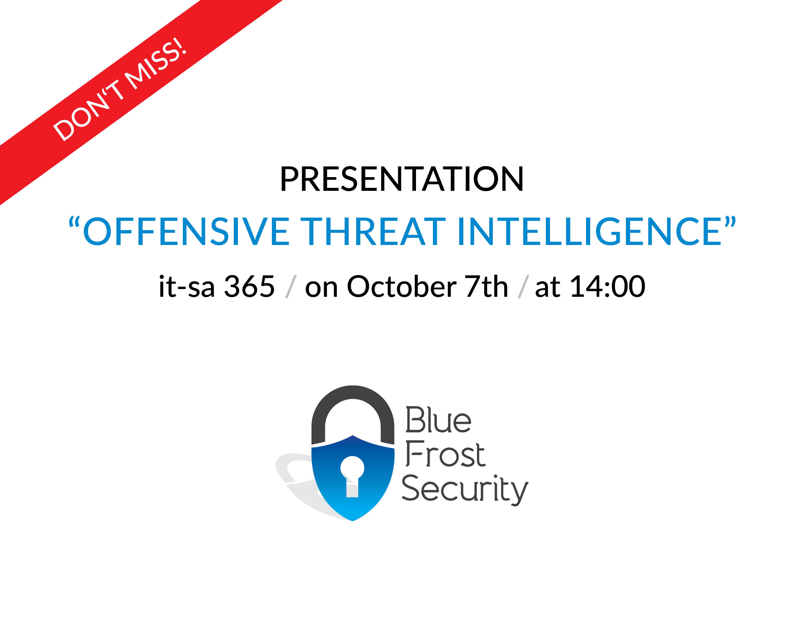 """itsa 365:  Announcement of lecture on """"Offensive Threat Intelligence"""